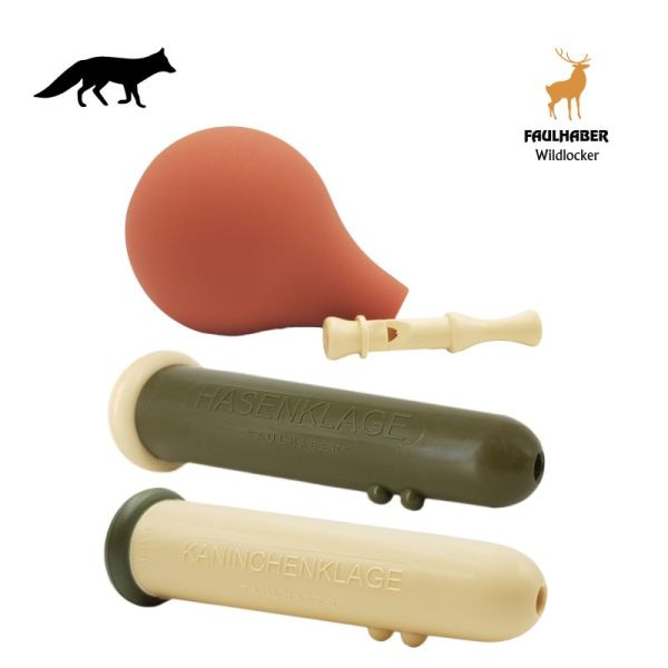 FAULHABER Wildlocker - 3er Set Premium - Hasenklage, Mauspfeife & Kaninchenklage - Fuchsreiz Fuchsjagd Wolfjagd Schakaljagd Luchsjagd - Profilockjagd